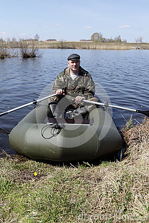 Portrait of man on inflatable boat