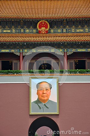 Portrait of Mao Zedong at Tiananmen Editorial Stock Image