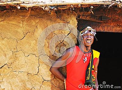 Portrait of Masai Mara warrior Editorial Photography