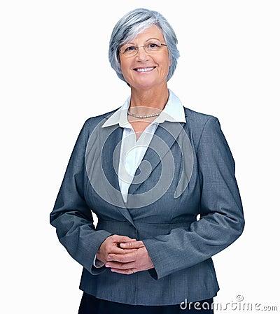 Portrait of mature business lady smiling