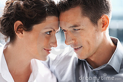 Portrait of a mature couple looking at each other