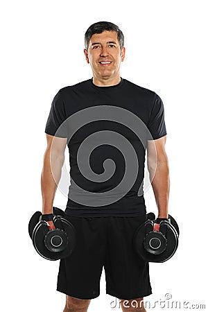 Portrait of Mature Hispanic Man Holding Dumbbells