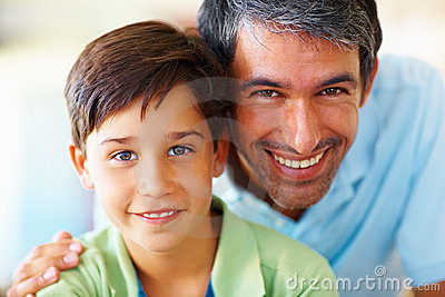 Portrait of a mature man with his son