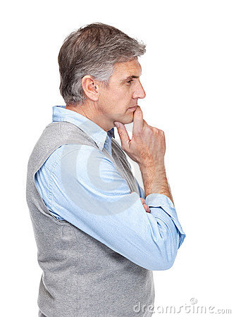 Portrait of a mature man lost in deep thought