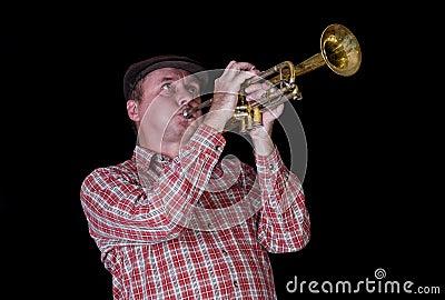 Portrait of mature trumpeter