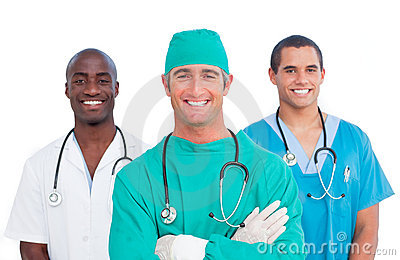 Portrait of men s medical team