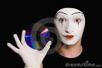 Portrait of  mime with cd