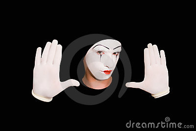 Portrait of  mime in gloves