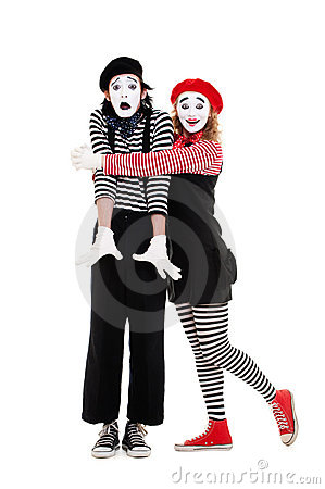 Portrait of mimes. happy woman embracing man