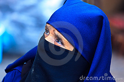 Portrait Moroccan Woman with blue head garb Editorial Stock Image