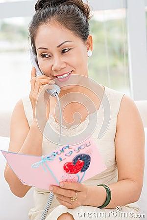 Phone congratulation