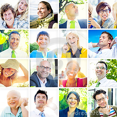 Portrait of Multiethnic Diverse Cheerful People Stock Photo