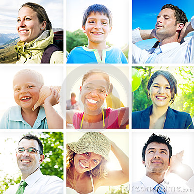 Portrait of Multiethnic Diverse Cheerful People Stock Photo