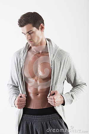 Portrait of a muscle man posing