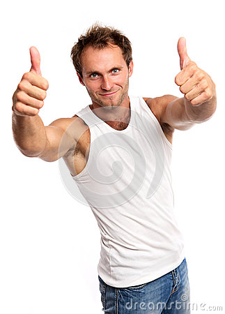 Portrait of a muscular young man, thumbs up