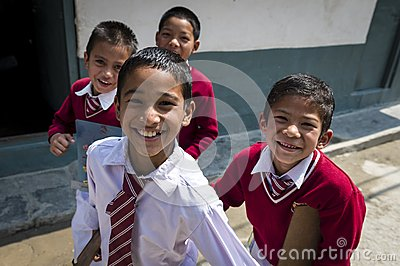 Portrait of nepalese smalling children Editorial Image