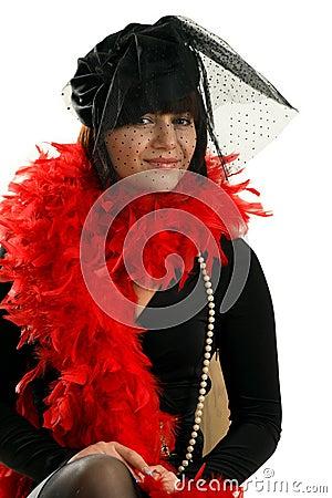 Portrait of nice woman in black veil