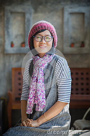 Free Portrait Of 40s Years Asian Woman Wearing Wool Hood And Silk Sca Stock Photos - 66344153