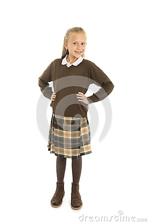 Free Portrait Of 7 Or 8 Years Old Beautiful And Happy Schoolgirl Female Child In School Uniform Smiling Cheerful Isolated On White Back Royalty Free Stock Photos - 111538428
