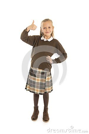 Free Portrait Of 7 Or 8 Years Old Beautiful And Happy Schoolgirl Female Child In School Uniform Smiling Cheerful Isolated On White Back Royalty Free Stock Image - 111538466