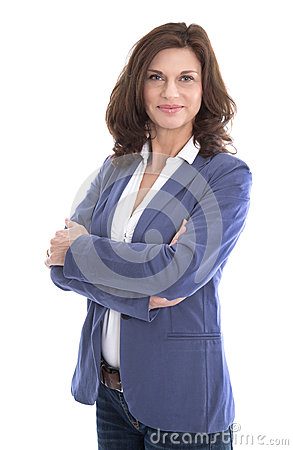 Free Portrait Of A Attractive And Happy Business Woman Isolated On Wh Stock Images - 40737974
