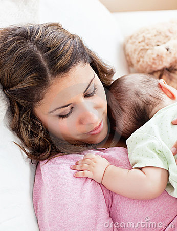Free Portrait Of A Baby And His Mother Sleeping Royalty Free Stock Image - 16484086