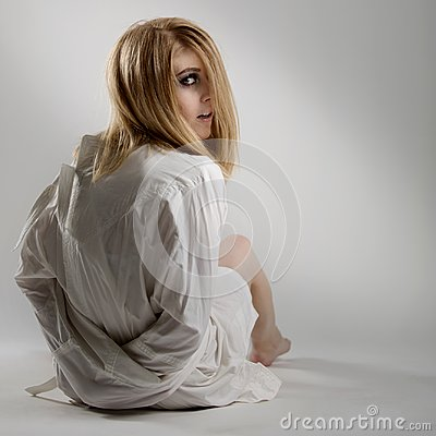 Free Portrait Of A Beautiful Young Crazy Woman In Straitjacket Royalty Free Stock Images - 106164249