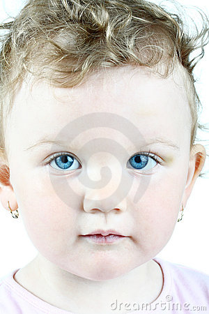 Free Portrait Of A Blue-eyed Baby Girl, High Key Stock Images - 14397854