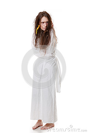 Free Portrait Of A Crazy Woman In A Straitjacket Royalty Free Stock Image - 46232516