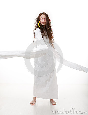 Free Portrait Of A Crazy Woman In A Straitjacket Stock Photos - 46232603