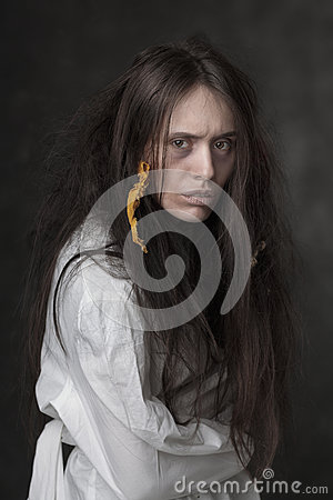 Free Portrait Of A Crazy Woman In A Straitjacket Royalty Free Stock Images - 46232949