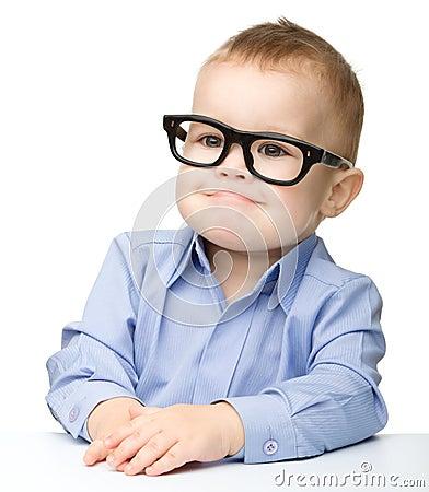 Free Portrait Of A Cute Little Boy Wearing Glasses Stock Photos - 23963203