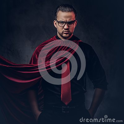 Free Portrait Of A Genius Villain Superhero In A Black Shirt With A Red Tie. Royalty Free Stock Photo - 118894925