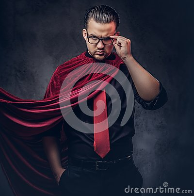 Free Portrait Of A Genius Villain Superhero In A Black Shirt With A Red Tie. Royalty Free Stock Photo - 118895035