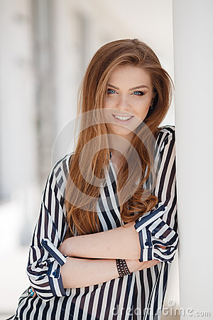 Free Portrait Of A Happy Woman In Spring City Stock Photos - 71847473