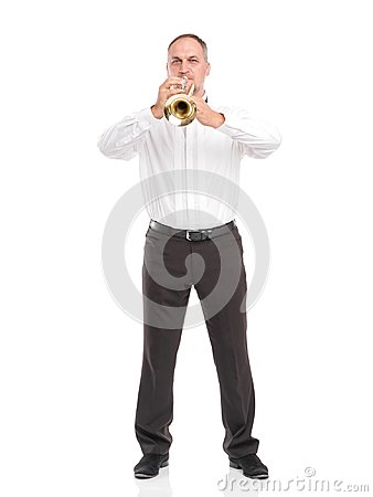 Free Portrait Of A Man With A Trumpet In His Hands Playing On A Pipe Isolated On White Background Royalty Free Stock Photos - 103629908
