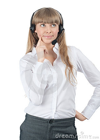 Free Portrait Of A Pensive Female Call Center Employee Royalty Free Stock Image - 19197496
