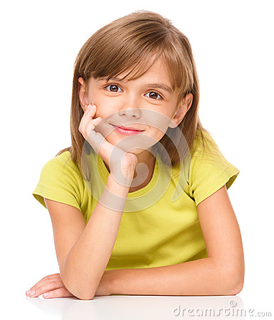Free Portrait Of A Pensive Little Girl Stock Photography - 47080702