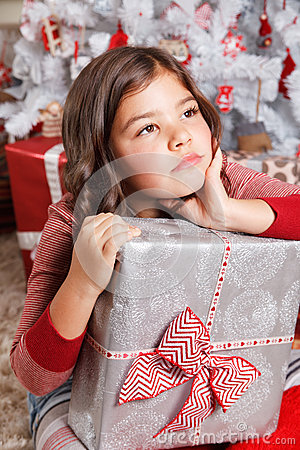 Free Portrait Of A Sad Little Girl At Christmas Royalty Free Stock Photo - 45836235