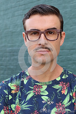 Free Portrait Of A Trendy Man With A Mustache Royalty Free Stock Photos - 86050288