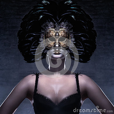 Free Portrait Of A Woman In A Dark Venetian Mask Royalty Free Stock Image - 27801626