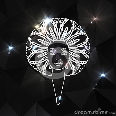 Free Portrait Of A Woman With Luxuriant Hair In The Style Of An African. Vector. Brilliant Background. Royalty Free Stock Images - 68201109