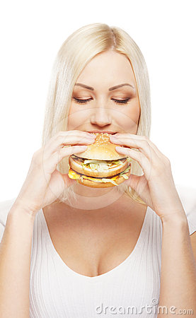 Free Portrait Of A Young Blond Woman Eating A Burger Stock Photos - 24452733