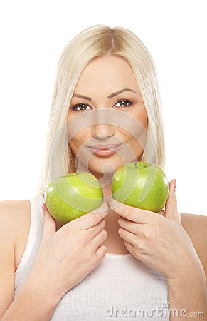Free Portrait Of A Young Blond Woman Holding Two Apples Stock Photo - 24915300