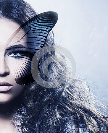Free Portrait Of A Young Woman With A Butterfly On Her Face Royalty Free Stock Photos - 79627678