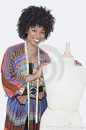 Free Portrait Of African American Female Fashion Designer With Tailor S Dummy Over Gray Background Royalty Free Stock Photo - 30852995