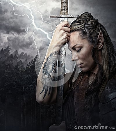 Free Portrait Of Alf Woman With Sword. Royalty Free Stock Image - 112953806