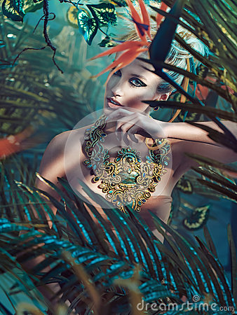 Free Portrait Of An Attractive Blond Lady In The Jungle Stock Photography - 86255422