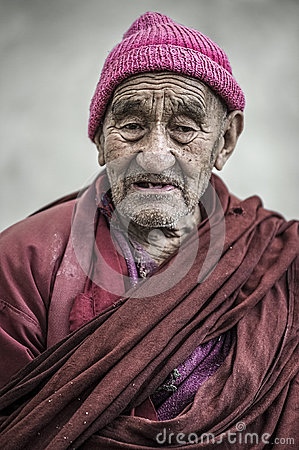 Free Portrait Of An Tibetan Old Monk From Thikse Monastery, Leh. Stock Photos - 80581533