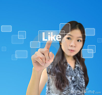 Free Portrait Of Asian Woman Pressing Like Button Royalty Free Stock Photo - 20666515